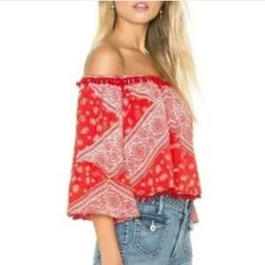 Tularosa Alexa Pom Pom Top Red Size Medium